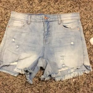 Women's High Wasted Distressed Faded Jean Shorts